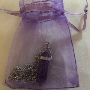 Purple Crystal Pendant on Silver Chain